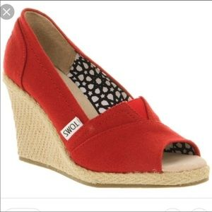 TOMS Red Stella Espadrilles Peep Toe Canvas Wedge